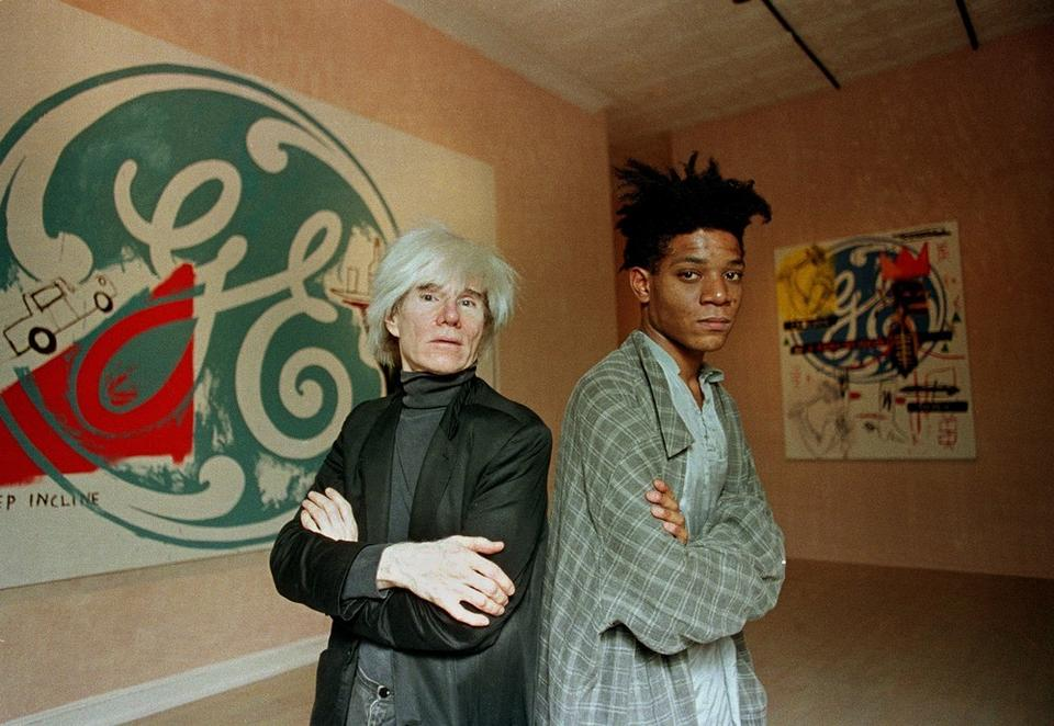 Andy Warhol i Jean-Michel Basquiat w Tony Shafrazi Gallery, 1985 r.