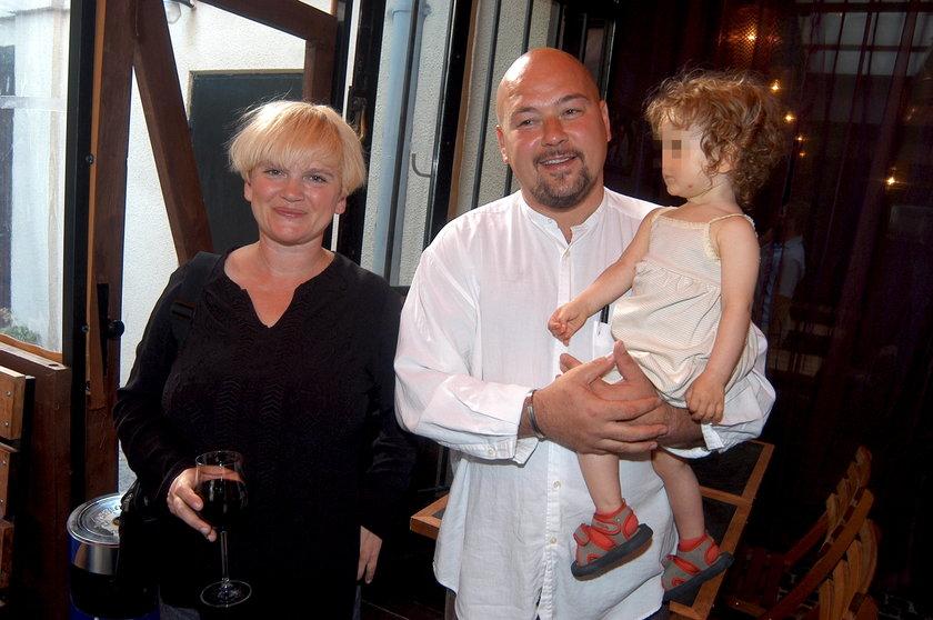 Katarzyna Figura z mężem i dzieckiem