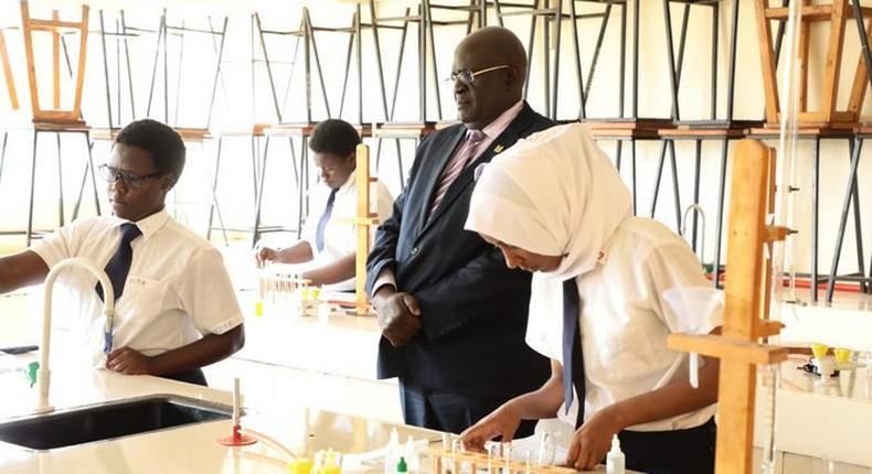 Education CS George Magoha invigilates practical exam during KCSE 2019. Due to Covid-19 pandemic, committee has proposed national exam to be done in February 2021