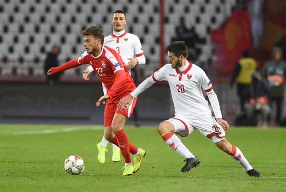 Mirko Ivanić u dresu Crne Gore protiv Srbije na Ligi nacija