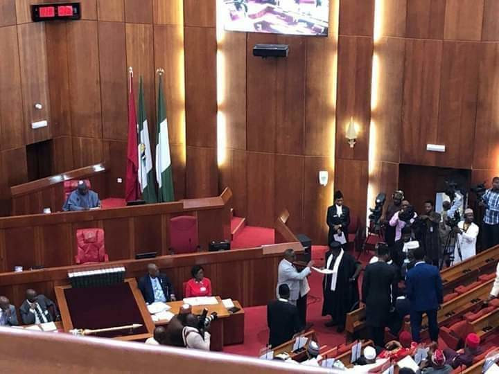 The President of the Senate, Ahmad Lawan presides over plenary after his election on June 11 (NASS)