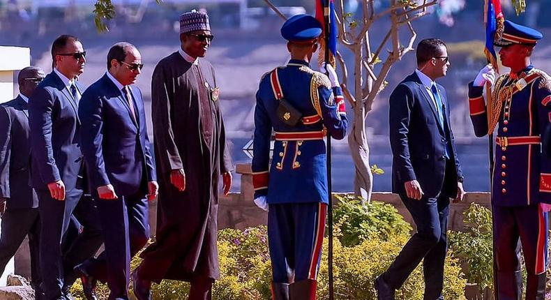 President Muhammadu Buari arriving at the ongoing Aswan Forum for Sustainable Peace and Development in Africa, in Egypt