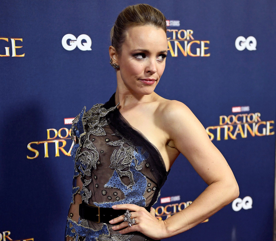 "Rachel McAdams poses as she arrives at the launch event of ""Doctor Strange"" at Westminster Abbey in London"