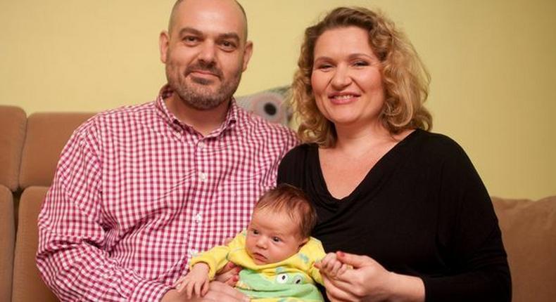 Karolina Dabrowska with partner Matthew Errington and their new born baby.