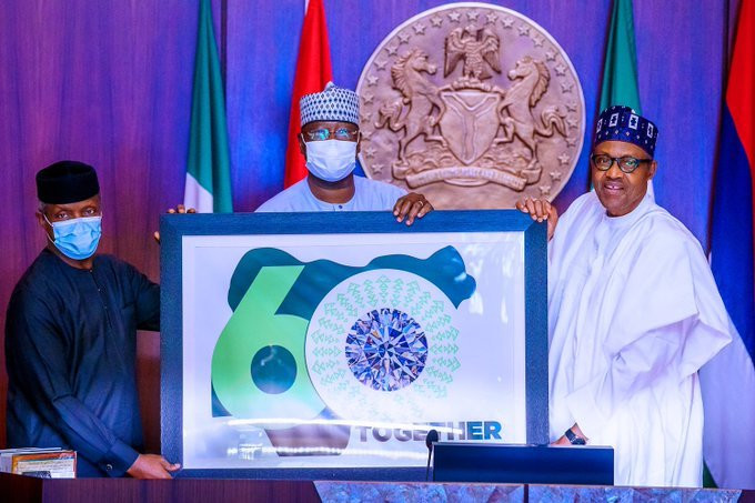 From Left: Vice President, Prof Yemi Osinbajo; the Secretary to the Government of the Federation, Boss Mustapha and President Muhammadu Buhari unveiling the logo for the 60th Independence Anniversary. (Blueprint Newspaper)