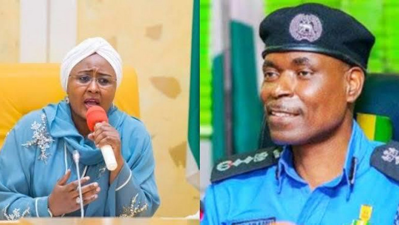 The Wife of the President, Aisha Muhammadu Buhari and the Inspector General of Police, Adamu Mohammed. (FACT)