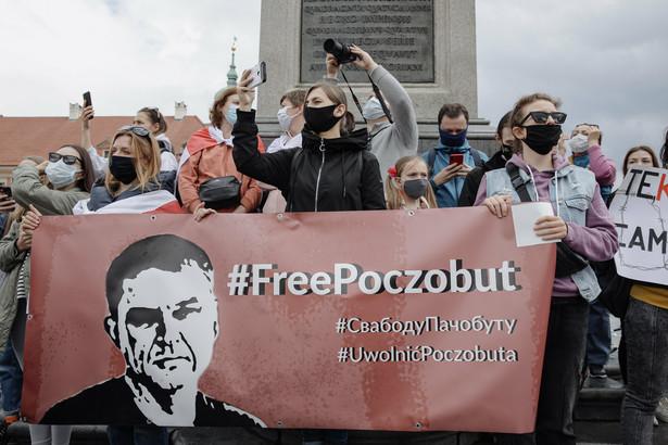 Pikieta solidarnosci z Bialorusia w Warszawie