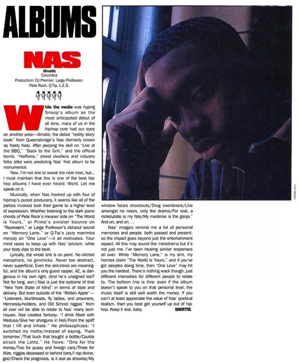 The review for Nas' classic 1994 album, 'Illmatic' by Shortie (Now Miss Infor).(The Soruce)