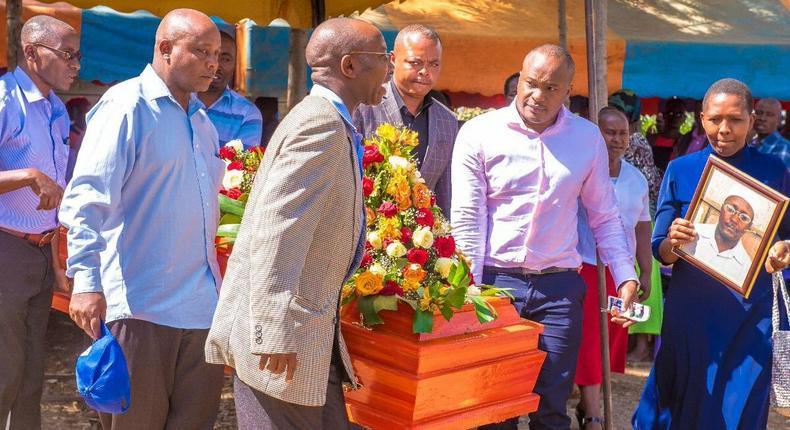 Starehe MP Charles Njagua Jaguar at the burial of Mzee Peter Ndung'u (Twitter)