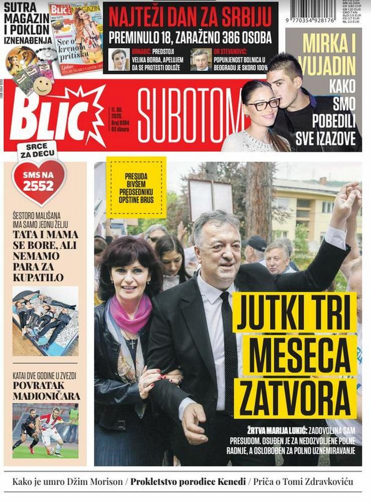 .Blic, naslovna za 11.7.2020.