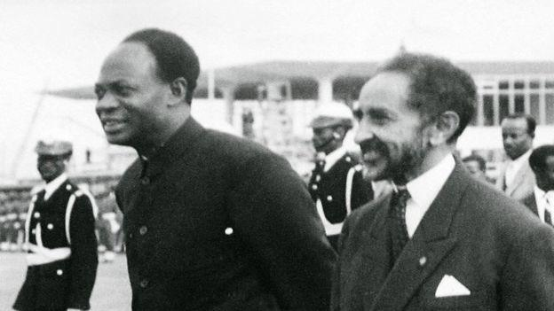 "The Ethiopian Emperor Haile Selassie (R) and Ghana""s founder and first President Kwame Nkurumah."