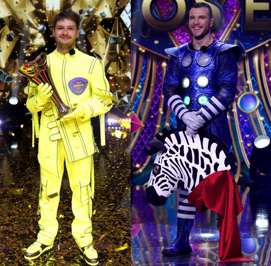 Az Álarcos énekes második évadát a Banán, azaz Miller Dávid nyerte, a második pedig Molnár Áron lett, akit a Zebra jelmez rejtett / Fotó: RTL Klub