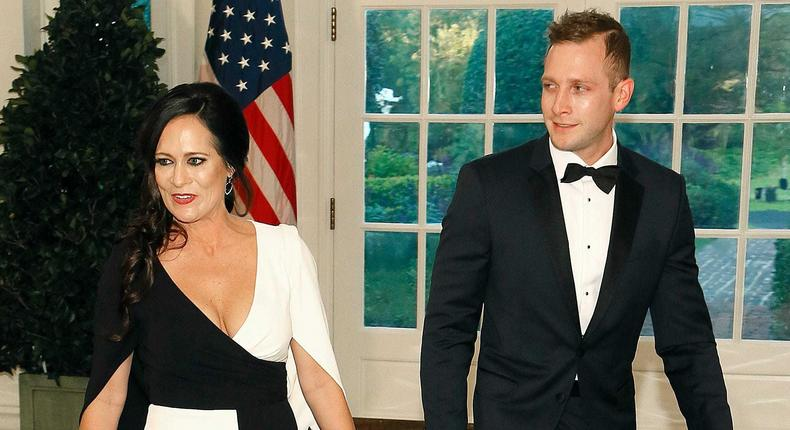 Press Secretary Stephanie Grisham (L) and Max Miller arrive arrive for the State Dinner at The White House honoring Australian PM Morrison on September 20, 2019 in Washington, DC. Trump hosted the Australian leader with an arrival ceremony and joint press conference earlier in the day.