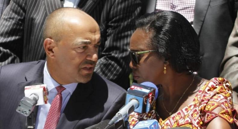 Peter Kenneth (L) with Martha Karua (R) during the Wednesday presser (Twitter)