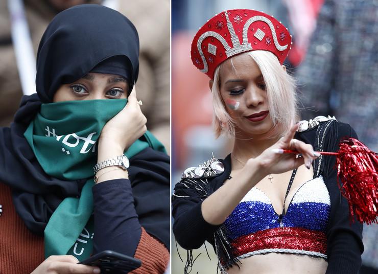 Navijačica Saudijske Arabije i navijačica Rusije