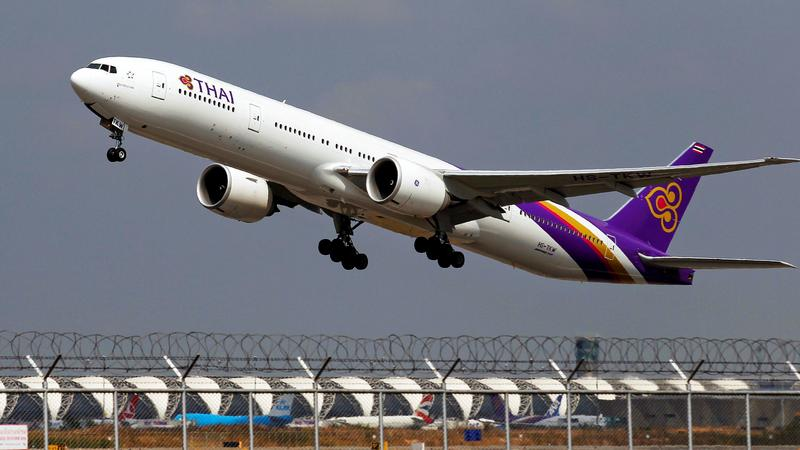 A Thai Airways Boeing 777-300ER plane takes off from Bangkok's Suvarnabhumi Airport