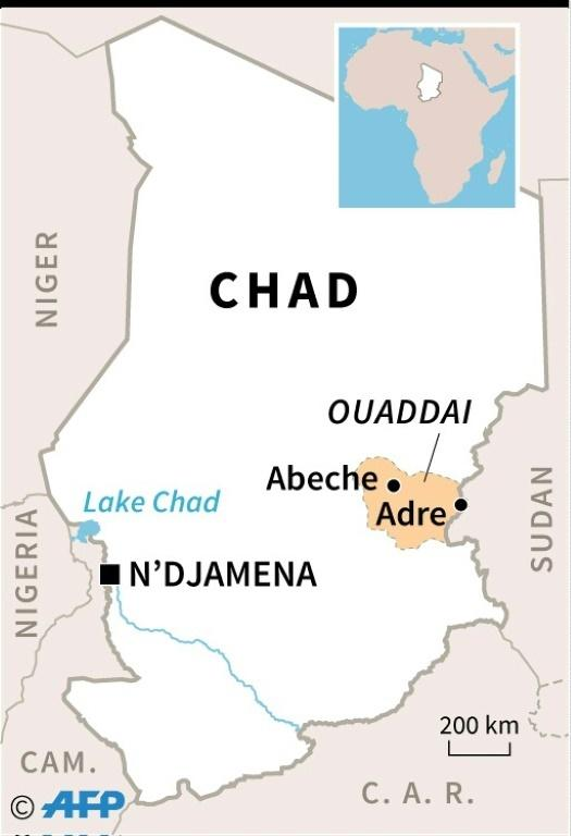 Map of Chad locating the Ouaddai region