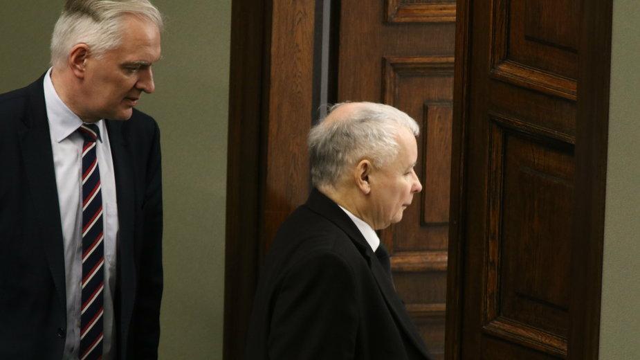 (od lewej) Jarosław Gowin i Jarosław Kaczyński. 24.11.2017 r.