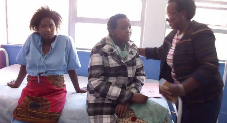 Jackiline Mwende when she was Visited by the Machakos County MP Dr. Susan Musyoka at Machakos Level 5 Hospital.