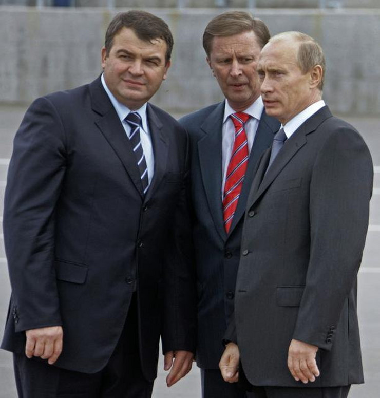 290767_from-left-russian-defense-minister-anatoly-serdyukov-russian-first-vice-premier-sergei-ivanov-and-president-vladimir-putin-ap