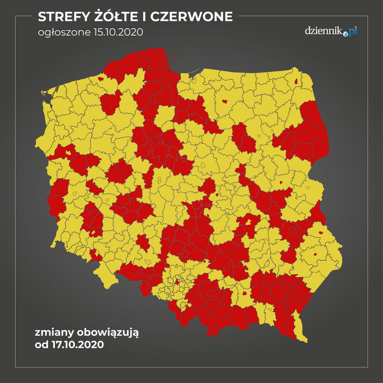 Mapa stref żółtych i czerwonych
