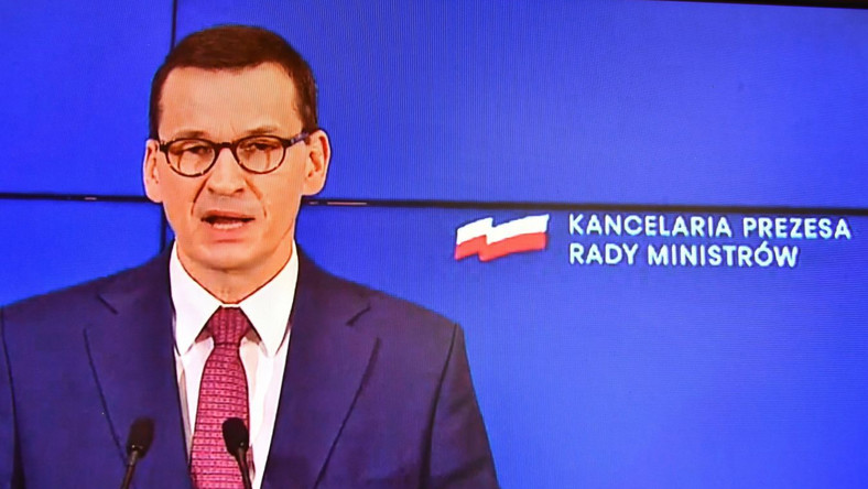 Premier Mateusz Morawiecki w siedzibie KPRM w Warszawie