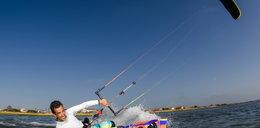 Kitesurfer zaplatał się w żagiel