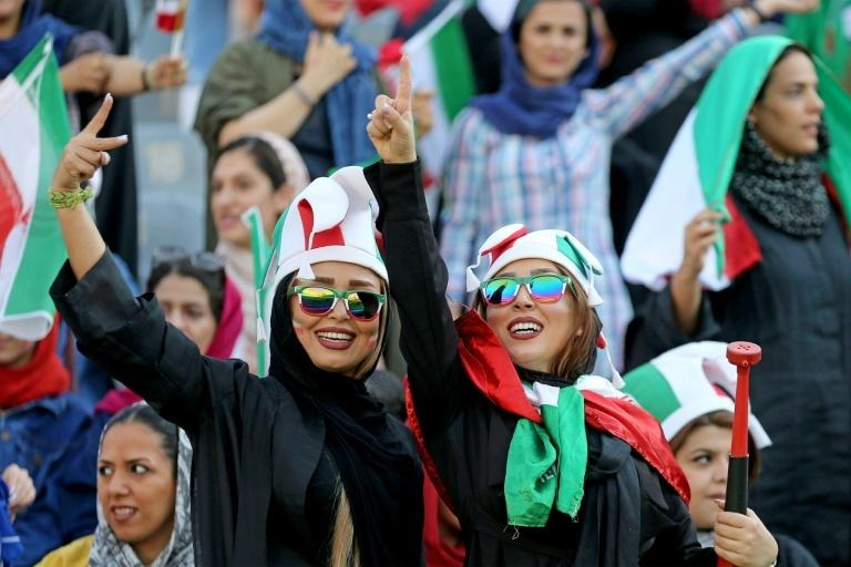 Iranian women freely attend a football match in their ultra-conservative country for the first time in around four decades