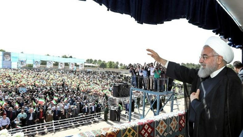Iranian President Hassan Rouhani delivers a speech in the northwestern city of Sabzevar on May 6, 2018