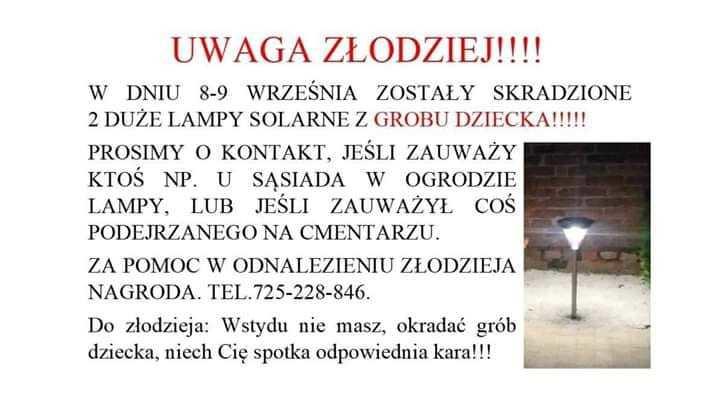 Złodziej Okradł Grób Dziecka Rodzina Prosi O Pomoc Poznań