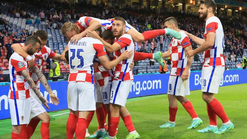 Piłkarze Chorwacji w meczu ze Szkotami