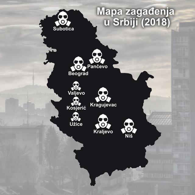 Mapa zagađenja u Srbiji