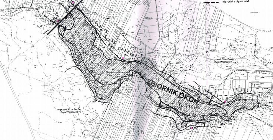 Mapa ze zbiornikiem Okoń