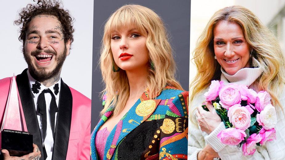 Post Malone, Taylor Swift i Celine Dion