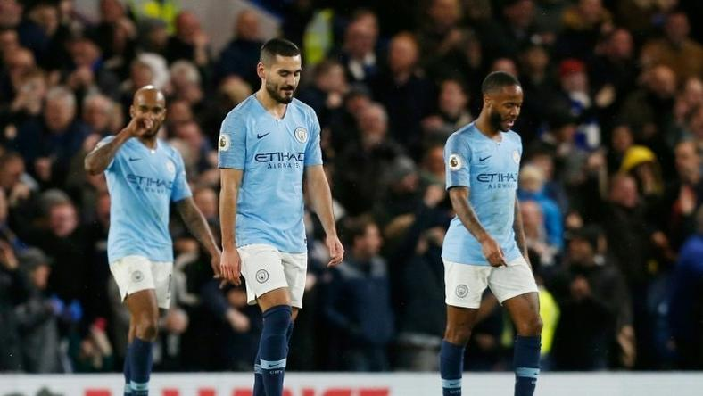 Manchester City's Raheem Sterling (right) was the victim of alleged racist abuse by a Chelsea fan on Saturday