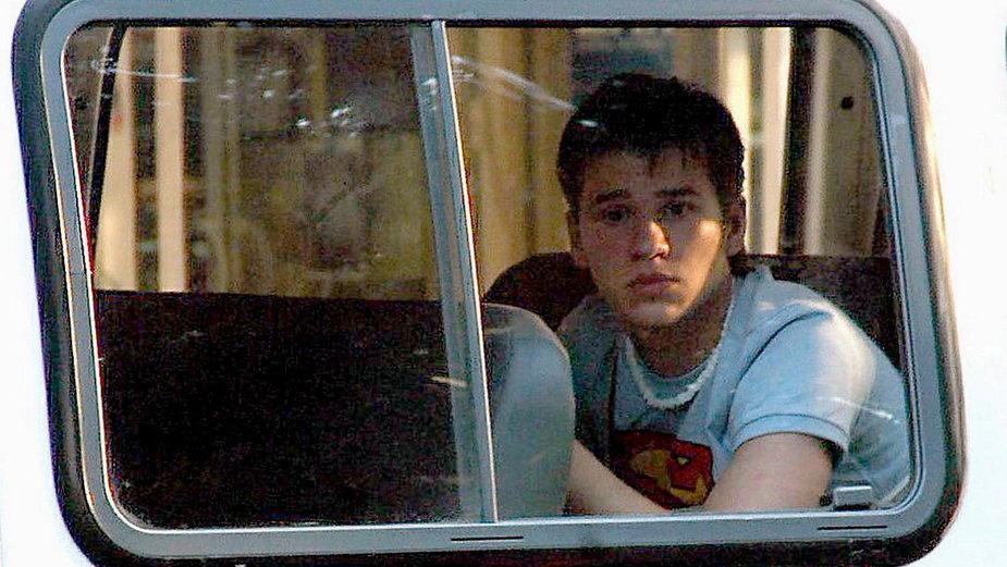 Michał Majewski w policyjnej furgonetce