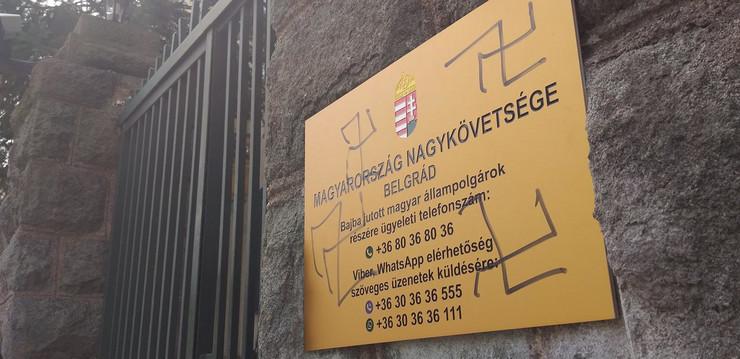 Ambasada Mađarske, Grafiti, Kukasti krst