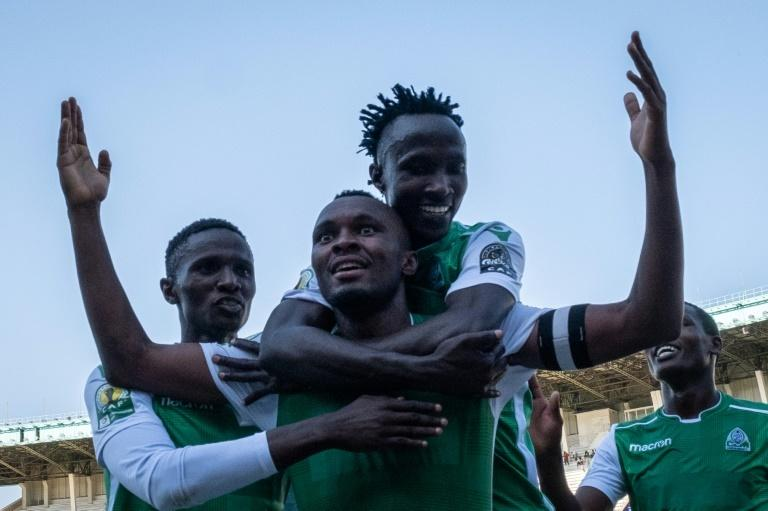 Gor Mahia of Kenya star Jacques Tuyisenge (C) celebrates one of his goals against Zamalek of Egypt in a 2018/2019 CAF Confederation Cup group match.