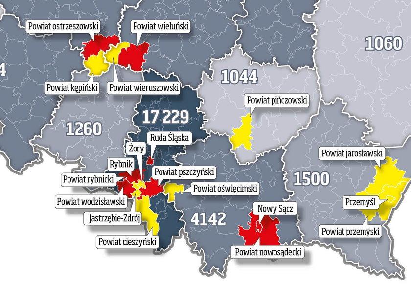 Obostrzenia obejmują 19 powiatów