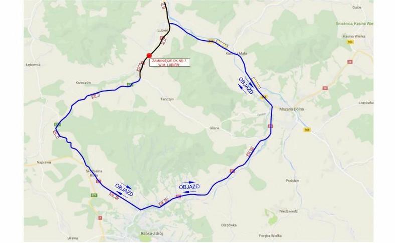Zakopianka zamknięta w Lubniu, objazd przez Mszanę Dolną