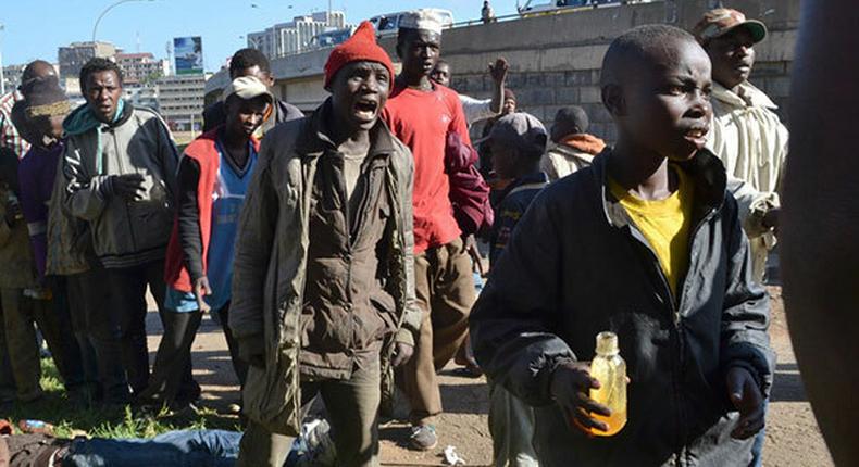 Group of street children in Nairobi