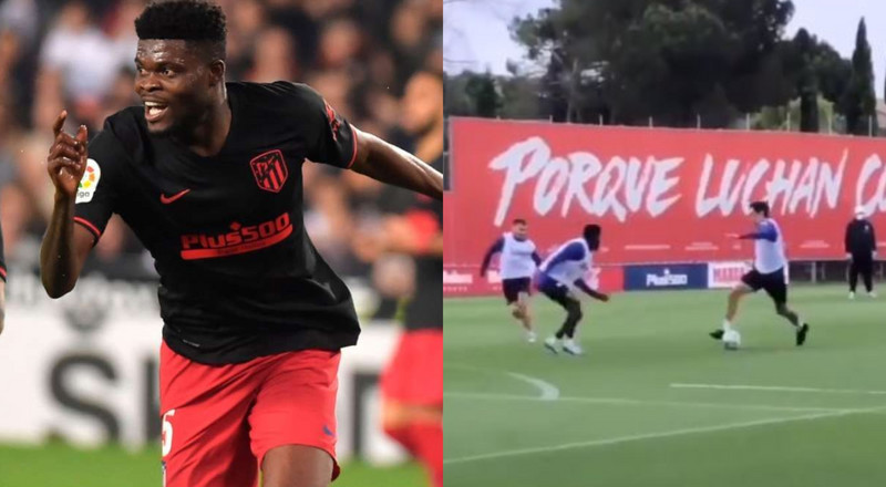 Thomas Partey stops advancing Savic at training (video)