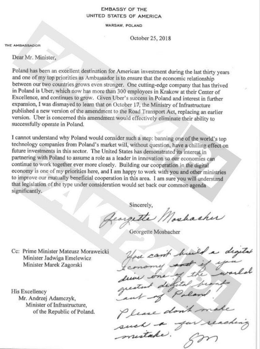 List ambasador USA do ministra Adamczyka
