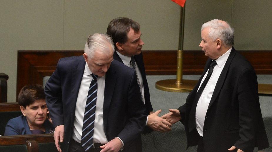 Jarosław Gowin, Zbigniew Ziobro oraz Jarosław Kaczyński