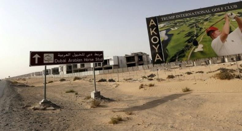 A billboard advertises the Trump International Golf Club Dubai in the United Arab Emirates in 2015