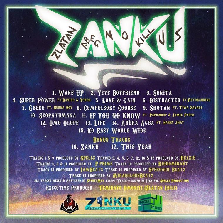 Zlatan release track list for his debut album, 'ZANKU: The Album.' (Instagram/Zlatan_Ibile)