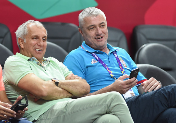 Trener Fenrbahčea Željko Obradović i Predrag Danilović, predsednik Košarkaškog saveza Srbije