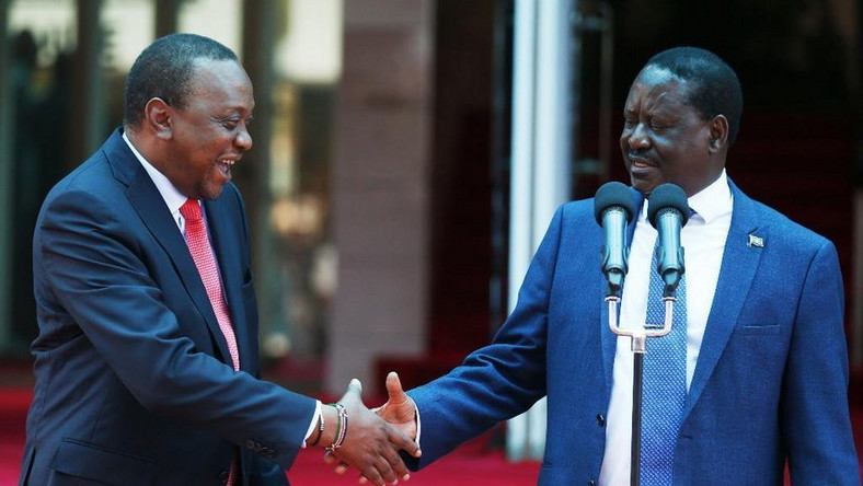 Uhuru Kenyatta with Raila Odinga during the 09 March handshake