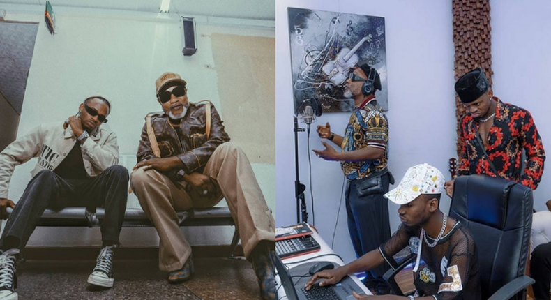 Photos of Koffi Olomide and Diamond Platnumz in Studio