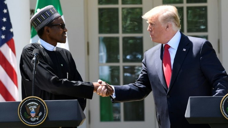 US President Donald Trump and Nigeria's President Muhammadu Buhari at the White House in 2018 (Nigerian Presidency)
